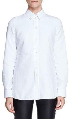 Alexander McQueen Peplum-Back Long-Sleeve Blouse, White