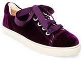 Betsey Johnson Lacy Velvet Lace-Up Sneakers