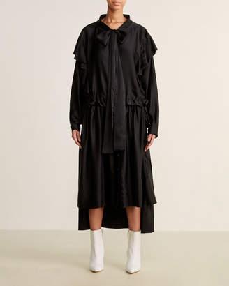 Faith Connexion Black Tie Neck Drawstring Waist Silk Shirt Dress