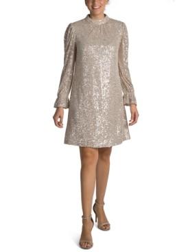 Julia Jordan Sequin Mock-Neck Sheath Dress