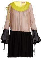 No.21 NO. 21 Tri-colour silk-crepon dress