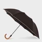 Paul Smith Black Signature Stripe Border Crook Umbrella With Wooden Handle