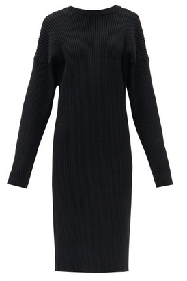 Bottega Veneta Open-back Ribbed-knit Sweater Dress - Black