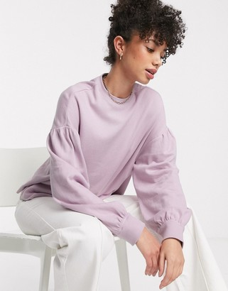 And other stories & balloon sleeve drop shoulder top in lilac