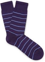 Sunspel Striped Mercerised Cotton-blend Socks - Purple