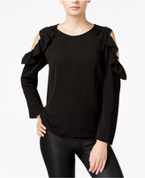 Bar III Ruffled Cold-Shoulder Top, Only at Macy's