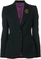 Dolce & Gabbana embroidered logo blazer - women - Silk/Polyamide/Polyester/Virgin Wool - 40