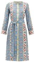 D'Ascoli Smyrna Thistle-print Silk-faille Shirtdress - Womens - Blue