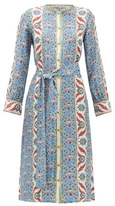 D'Ascoli Smyrna Thistle-print Silk-faille Shirtdress - Womens - Blue