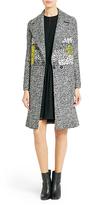 Diane von Furstenberg Nala Woven Printed Coat In Black/white/kiwi