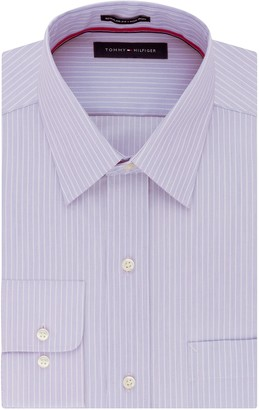 "Tommy Hilfiger Men's Pinpoint Regular Fit Solid Button Down Collar Dress Shirt 14.5"" Neck 32""-33"" Sleeve"
