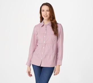 Denim & Co. Yarn Dye Striped Poplin A-Line Tiered Shirt