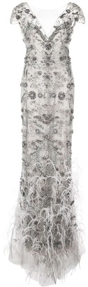 Marchesa Feather Fringe Gown