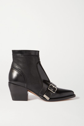 Chloé Rylee Glossed And Lizard-effect Leather Ankle Boots - Black
