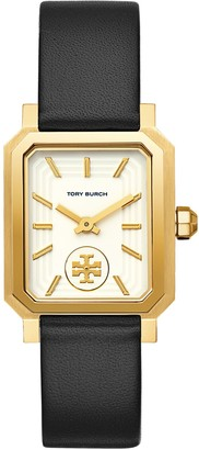 Tory Burch Robinson Watch, Black Leather/Gold-Tone, 27 X 29 MM