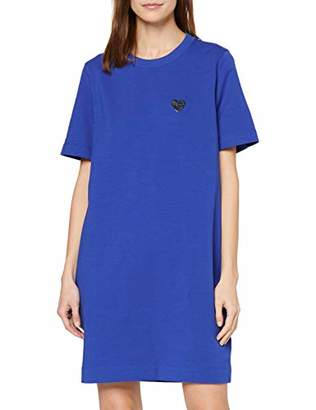 Love Moschino Women's Short Sleeve Stretch Fleece Dress_Heart Badge,(Size: 42)