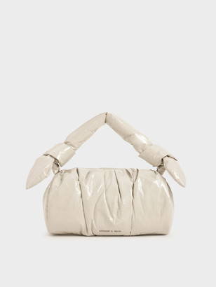Charles & Keith Patent Knotted Shoulder Bag