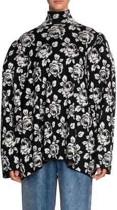 Balenciaga Rose-Jacqaurd Oversized Turtleneck Sweater