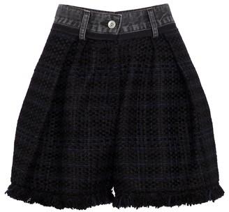 Sacai Denim and tweed shorts