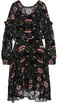 Preen by Thornton Bregazzi Evelina Ruffled Floral-print Devoré-chiffon Midi Dress - Black