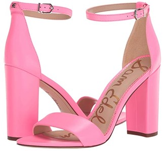 Sam Edelman Yaro Ankle Strap Sandal Heel (Electric Pink Neon Butter Nappa Leather) Women's Dress Sandals