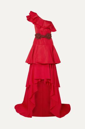 Johanna Ortiz Cumbia Y Luceros One-shoulder Belted Ruffled Silk-taffeta Gown - Red