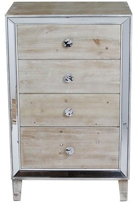 Homeroots White Washed Wood Accent Cabinet with 4 Drawers and Antique Mirrored Glass