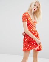 Asos Skater Mini Dress With Ballet Wrap In Polka Dot