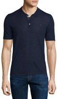 Burberry Short-Sleeve Check-Placket Polo Shirt, Indigo Blue