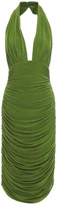 Norma Kamali Crystal-embellished Ruched Stretch-jersey Halterneck Dress