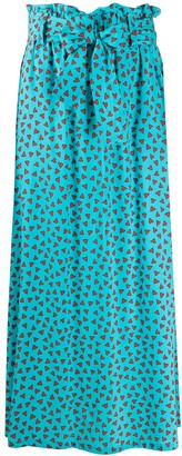P.A.R.O.S.H. Heart-Print Full Skirt