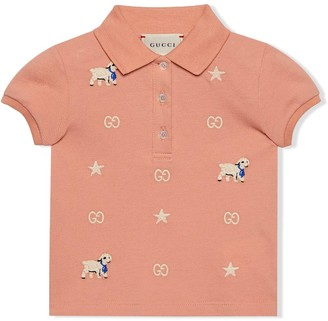 Gucci Kids Cotton Polo With Lamb Embroidery