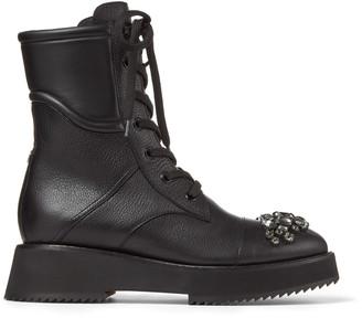Jimmy Choo HADLEY FLAT Black Grained Leather Combat Boots