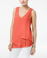 NY Collection Petite Inverted-Pleat Asymmetrical-Hem Top