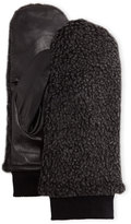 Neiman Marcus Faux-Shearling & Leather Mittens, Black