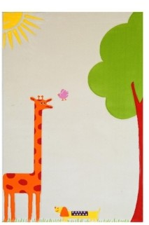 "IVI Giraffe Cream Soft Nursery Rug with a Playful Design - 59""L x 39""W Playmat"