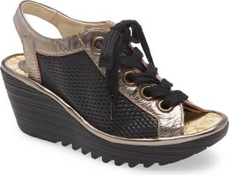 Fly London Yoli Wedge Lace-Up Sandal