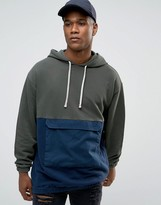 Asos Oversized Longline Hoodie With Cut & Sew Woven Pocket