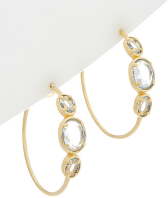 Rivka Friedman 18K Gold Clad Aquamarine Cz Hoops
