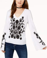INC International Concepts I.n.c. Petite Embroidered Bell-Sleeve Sweater, Created for Macy's