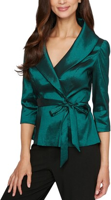 Alex Evenings Brushed Satin Tie Waist Blouse