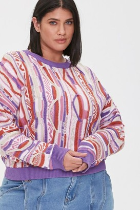 Forever 21 Plus Size Multicolored Cable Knit Sweater