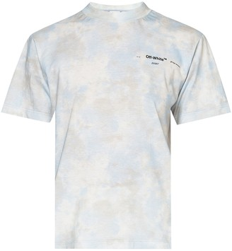Off-White Light Blue And Grey Tie-dye T-shirt