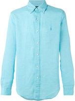Polo Ralph Lauren embroidered logo shirt - men - Linen/Flax - XL