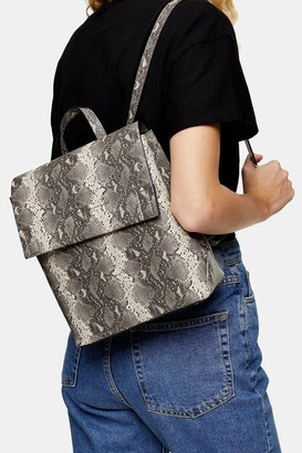 Topshop Womens Blaze Grey Snake Backpack - Grey