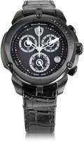 Tonino Lamborghini Shield Lady Black Stainless Steel and Black Croco Print Leather Chronograph Watch