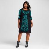 Women's Plus Size Jacquard Sweater Dress - Notations