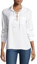 Paige Billie Lace-Up Denim Shirt, White