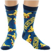 Bioworld Nintendo Pokemon Go Pikachu Crew Socks Mens Ankle Adult Blue Yellow