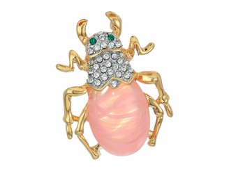Kenneth Jay Lane Beetle Pin Cherry Quartz One Size